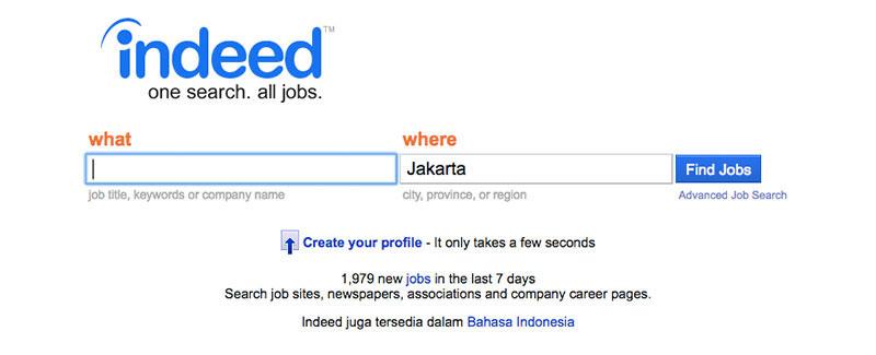 Halaman muka Indeed | Screenshot