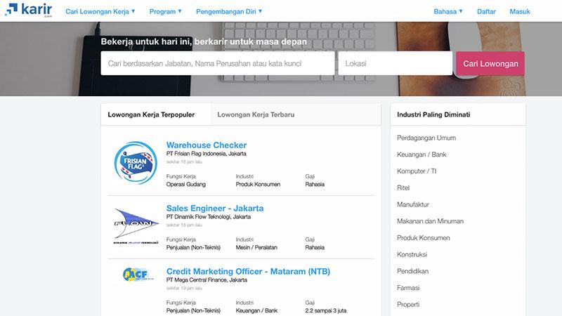 Halaman muka Karir | Screenshot