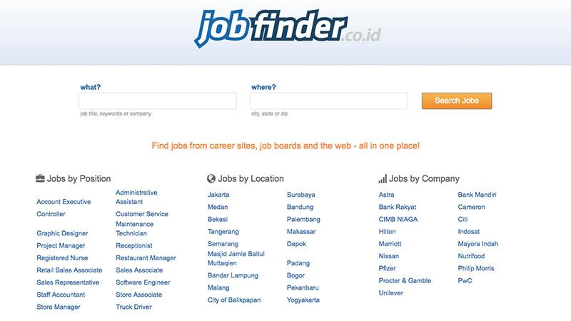 Halaman muka jobfinder | Screenshot