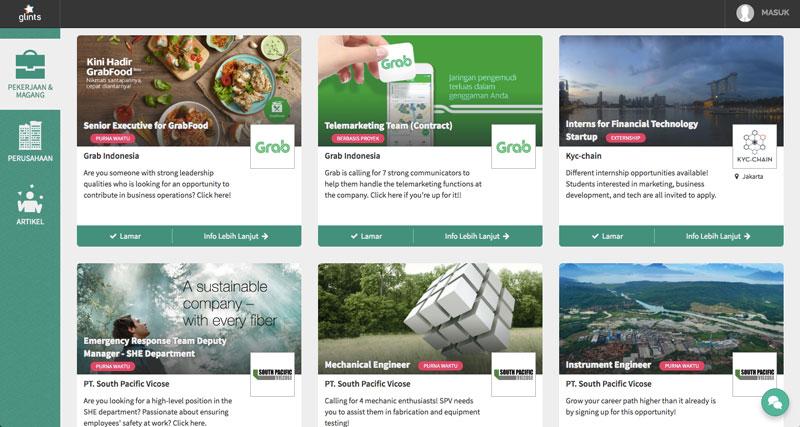 Tampilan situs layanan pencari kerja Glints | Image