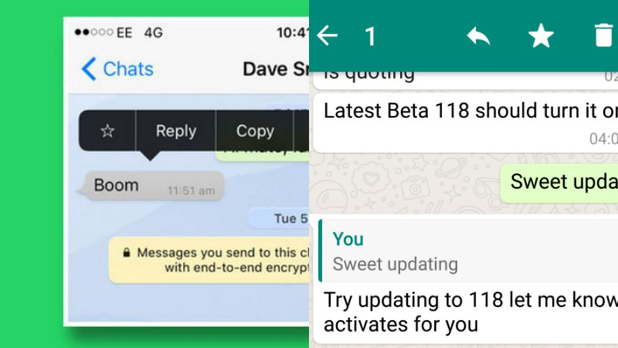 Whatsapp Fitur Quote di iOS dan Android | Screenshot