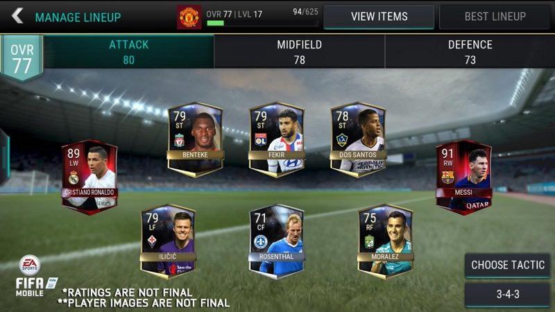FIFA Mobile Manage Lineup | Screenshot