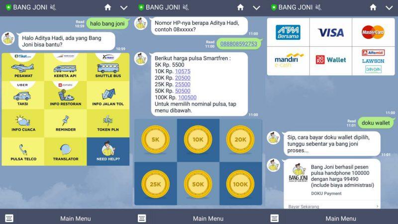 Bang Joni Tampilan Layanan di LINE | Screenshot