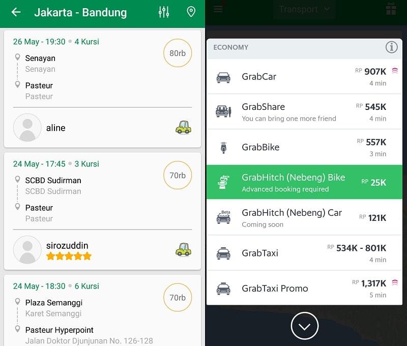 Perbandingan tarif GrabHitch (Nebeng) Mobil |Screenshot
