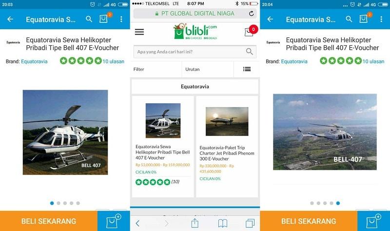 Layanan sewa helikopter di Blibli | Screenshot
