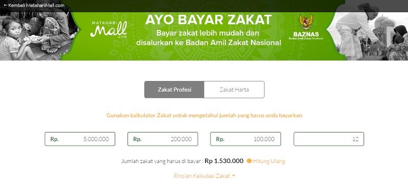 MatahariMall Kalkulator Zakat Online | Screenshot