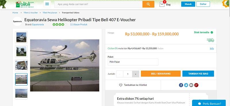Sewa Helikopter di Blibli | Screenshot