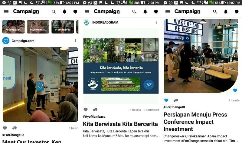 Tampilan aplikasi Campaign | Screenshot