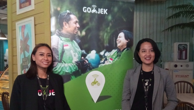 Chief of Human Resource Officer GO-JEK, Monica Oudang (kiri) dan VP of Internal Portals & Swadaya Program GO-JEK, Ardelia Apti (kanan).
