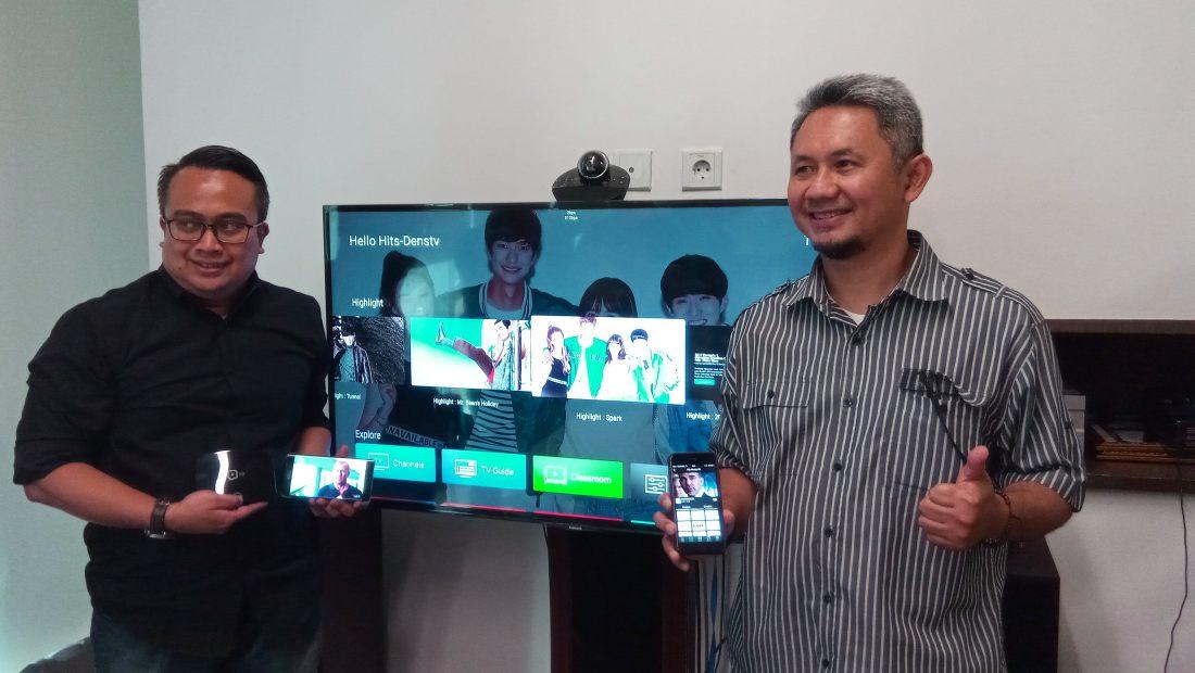 Chief Operating Officer Dens.TV, Harry D. Setiawan (kiri), bersama Chief Content Officer Dens.TV, Ario B. Widyatmiko (kanan) memperkenalkan kehadiran layanan Dens.TV