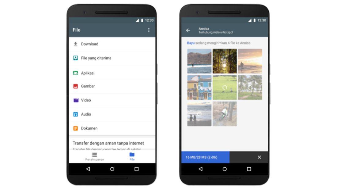 Tampilan aplikasi Files Go | Screenshot