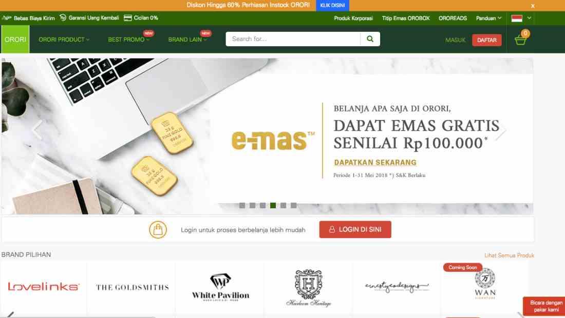Tampilan platform ORORI | Screenshot