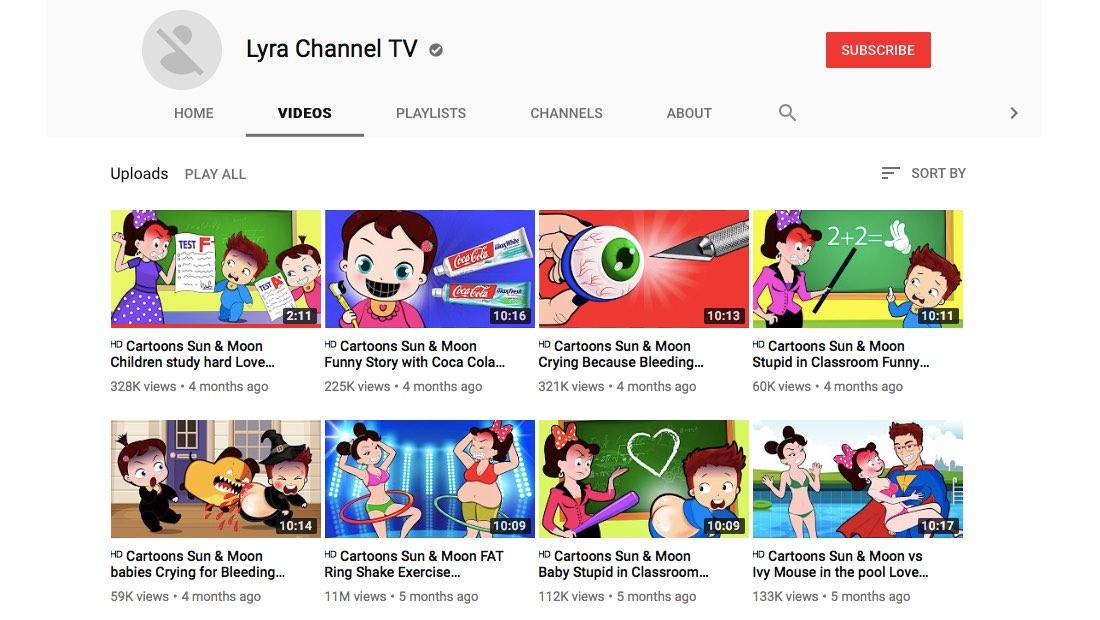 Rangkaian video dari channel Lyra Channel TV yang menampilkan karakter kartun dalam situasi kekerasan fisik dan bernada seksual.