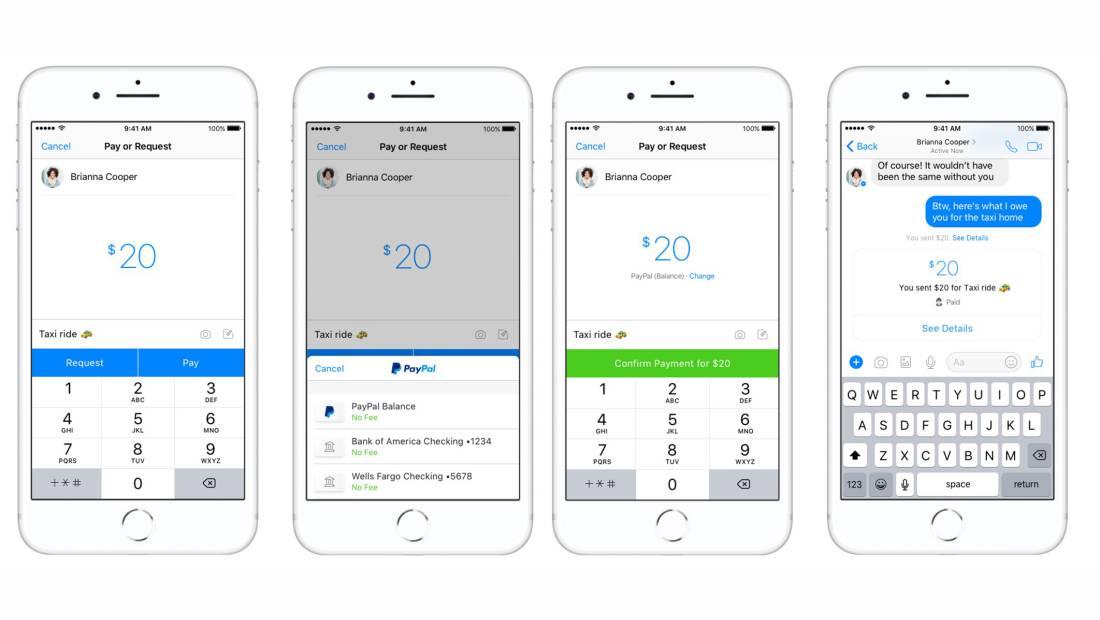 Interface transaksi melalui akun Paypal yang diintegrasikan dengan Facebook Messenger.