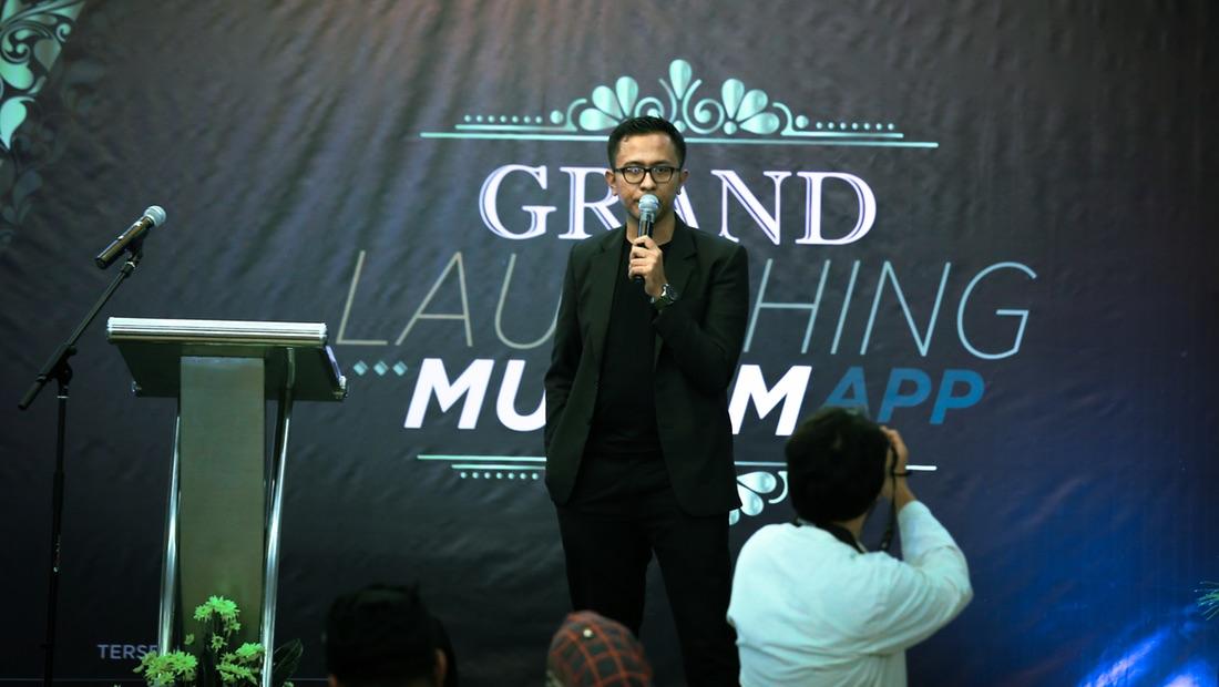 Chief Marketing Officer Muslimapp Hafidz Syahrial dalam peluncuran Muslimapp pada 10 Maret 2018.