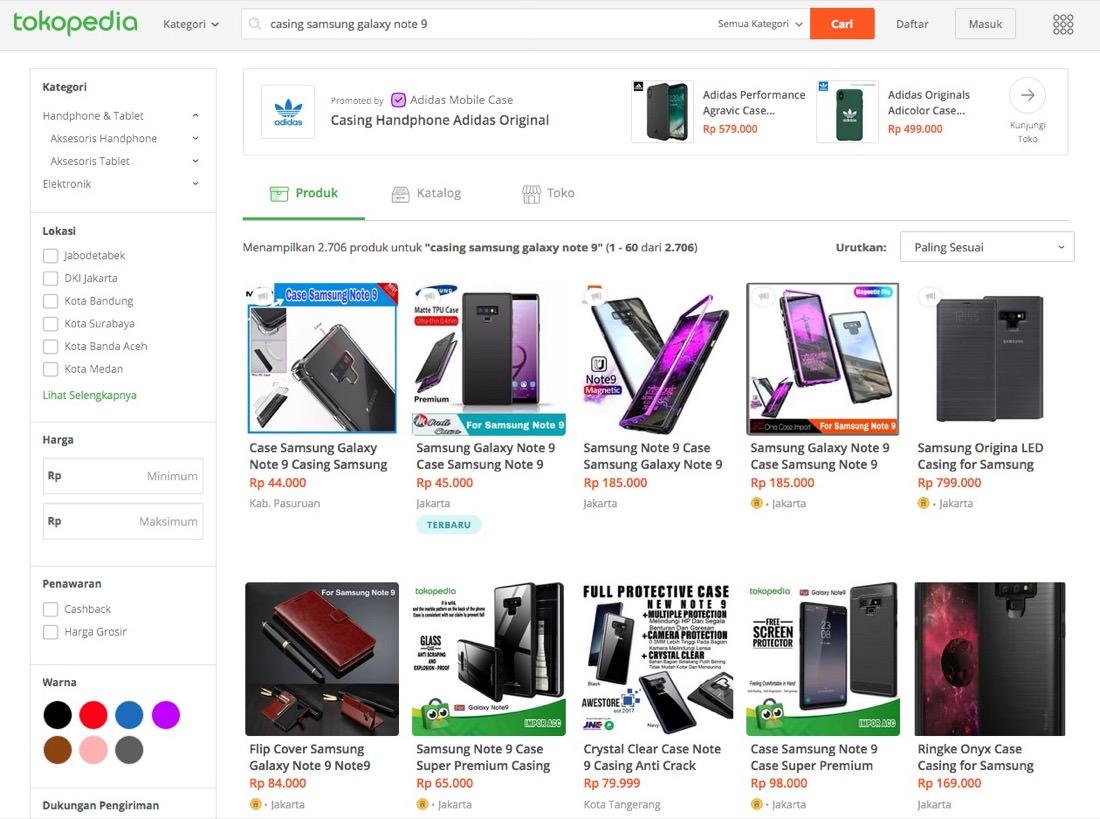 Tokopedia Hasil Pencarian Casing Galaxy Note 9 | Screenshot