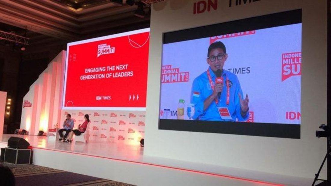 Sandiaga Uno saat menjadi pembicara di Indonesia Millennial Summit